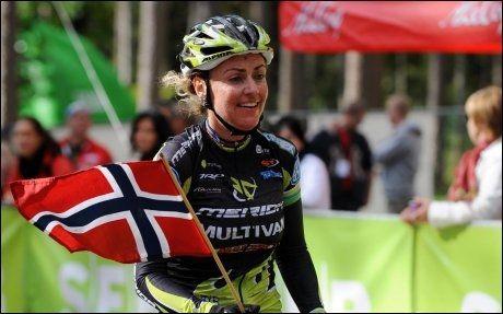 EM-GULL: For to år siden vant Gunn Rita Dahle Flesjå vant EM-gull i terrengsykling, i dag tok hun et nytt EM-gull, denne gang på 30 kilometer rundbane. Foto: Zigismunds Zalmanis