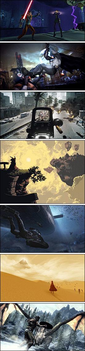 HOT HOT HOT: Her er noen av høstens mest spennende utgivelser - fra toppen: «Star Wars: The Old Republic», «Batman: Arkham City», «Battlefield 3», «Owlboy», «Call of Duty: Modern Warfare 3», «Journey» og «The Elder Scrolls V Skyrim». Foto: SKJERMBILDER