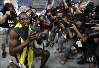 Bolt lekte med fotografene etter VM-gullet
