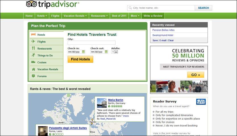 STOR MAKT: Nettstedet TripAdvisor har 45 millioner brukere i måneden. Foto: SKJERMDUMP
