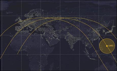 TRE BANER: Det er tre potensielle baner den amerikanske satellitten kan brenne opp i. Foto: Ted Molczan/ Speaceweather
