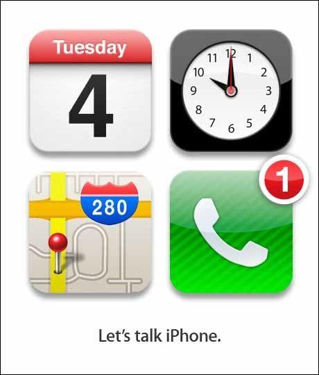 INVITASJONEN: Til Apple å være er dette en krystallklar forhåndsannonsering. De fleste tyder rebusen slik: Tirsdag 4. (oktober) klokken 10 i Apples hovedkvarter (kartutsnittet) skal det komme en telefon-nyhet. Og den skal handle om iPhone. Illustrasjon: SKJERMBILDE