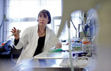 KVINNER BEDRE RUSTET: Professor Anne Spurkland forsker på gener og immunforsvar ved Universitetet i Oslo. Hun mener kvinner har bedre våpen og sterkere skyts å stille opp med enn menn når det gjelder immunforsvaret. Foto: Marius Knutsen/VG