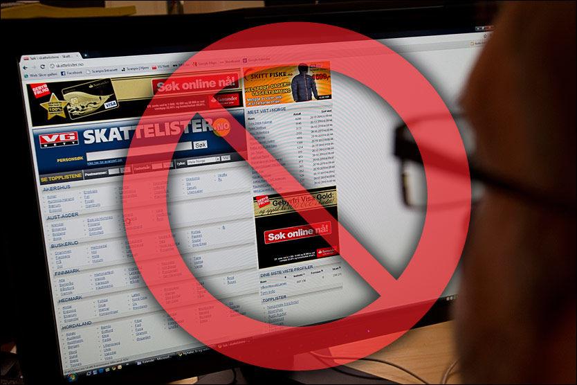 DETTE ER IKKE LOV: Når skattelistene offentliggjøres fredag morgen, har ikke norske medier lov til å legge dem ut i søketjenester. Foto: Grafikk: Tom Byermoen