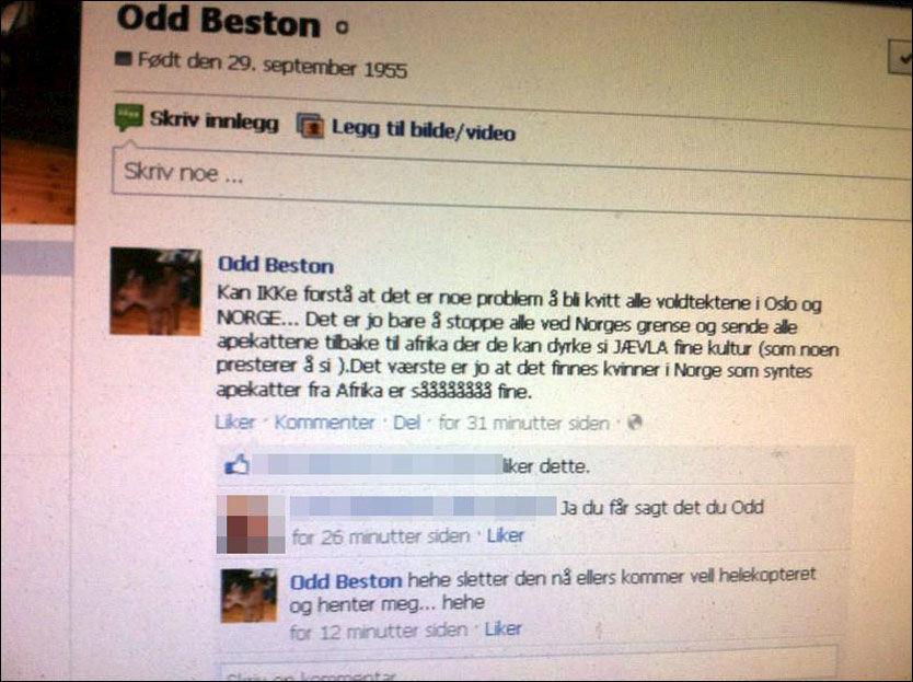 FACEBOOK: Odd Beston hadde en enkel løsning på voldtektsbølgen i Oslo. Kort tid etterpå slettet han innlegget. Foto: Skjermdump
