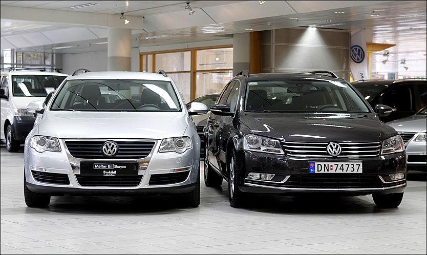 BRUKT OG NY: Her ser du en ny og en fire år gammel VW Passat stasjonsvogn. Den nye bilen er til høyre. Foto: Trond Solberg