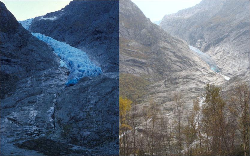 SMELTER: Bondhusbreen er en av Folgefonnas utstikkere og har hatt en dramatisk tilbakegang fra 1990 (t.v) til 2011 (t.h) Foto: NVE
