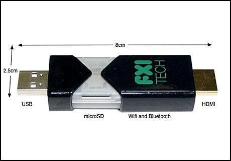 TIL Å SPISE OPP: Prototypen av FXI Labs datamaskin, med kodenavnet Cotton Candy, en Android-pc på størrelse med en minnepinne. (Foto: FXI)