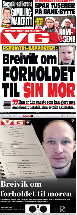 LES MER: I dagens utgave av papir og iPad kan du lese mer om rapporten og Breiviks forhold til moren.