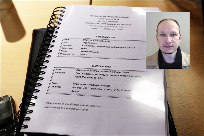UENIG: Anders Behring Breivik mener de sakkyndiges rapport inneholder mange feil. Foto: Scanpix
