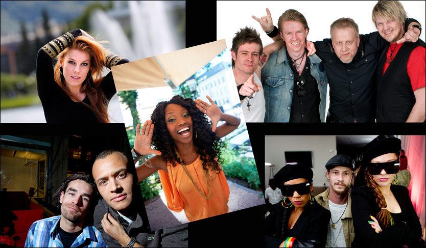 NOMINERTE: Gabrielle (øverst fra venstre), Stella Mwangi, Plumbo, Admiral P og Erik og Kriss. Foto: VG/Scanpix