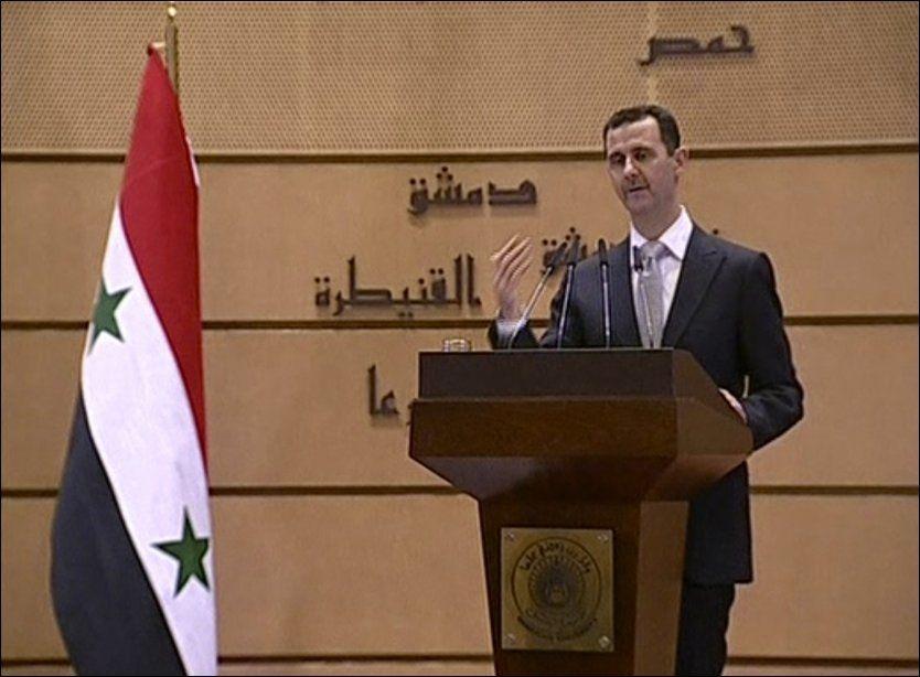 TROR PÅ SEIER: - Vi kommer snart til å erklære seier, sa Assad under den TV-sendte talen. Foto: APTN