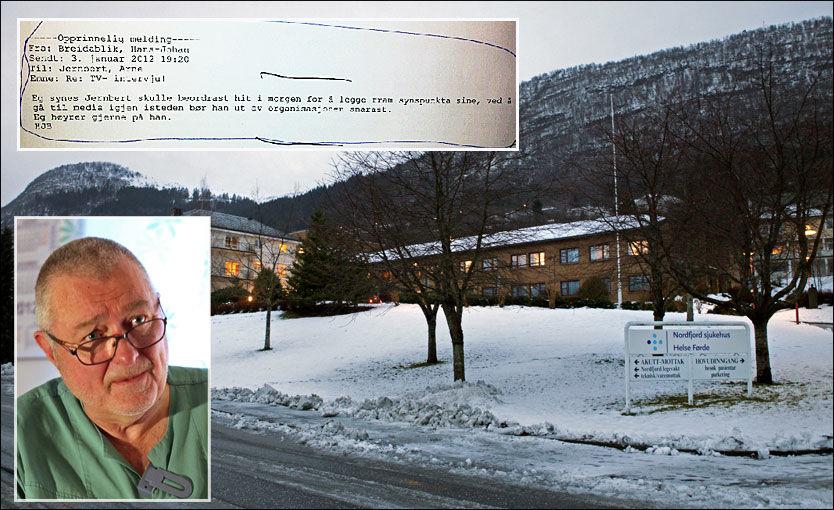HARDT VÆR: Ifølge overlege og gynekolog ved Nordfjord sjukehus, Arne Järnbert, hadde ikke ledelsen noen plan eller kriseberedskap da «Dagmar» slo til. - Forholdene var som i et u-land, sier han. Innfelt: Den feilsendte eposten han mottok fra ledelsen. Foto: Patrik Eian Fjeldstad