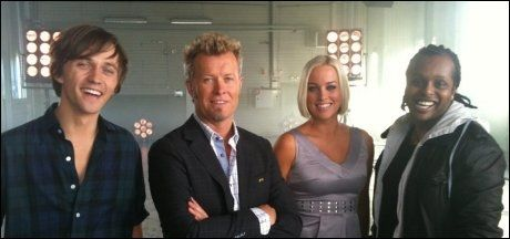 SANKER STEMMER: Sondre Lerche, Magne Furuholmen, Hanne Sørvaag og Yosef Wolde-Mariam er knivende mentorer i «The Voice». Foto: TV 2