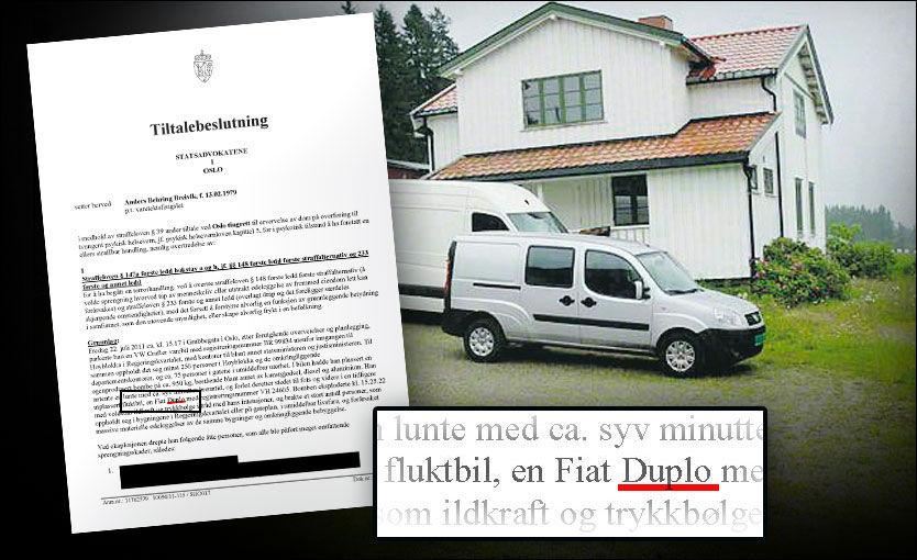 NØYE: Kort tid etter at terrortiltalte Anders Behring Breivik fikk lese tiltalen mot seg selv, påpekte han at fluktbilen hans - en Fiat Doblo - var stavet feil av statsadvokatene. Foto: GRAFIKK: TOM BYERMOEN