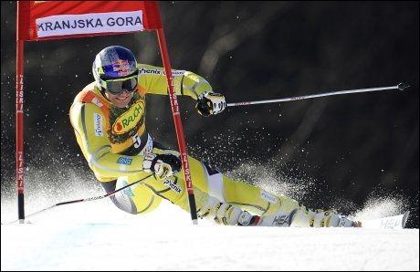 NUMMER ÅTTE: Aksel Lund Svindal ble nummer åtte i storslalåmrennet i Kranjska Gora. Foto: Ap