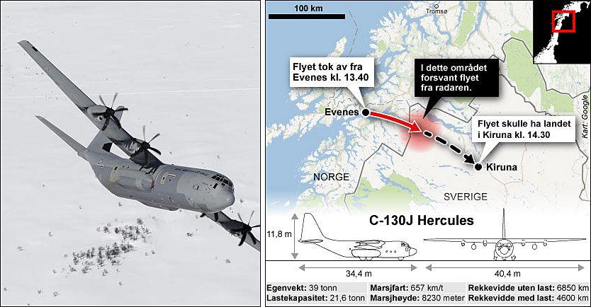 FORSVUNNET: Det er et fly av denne typen som er savnet i Kebnekaise-området i Nord-Sverige. Foto: Tom Byenmoen/Forsvaret