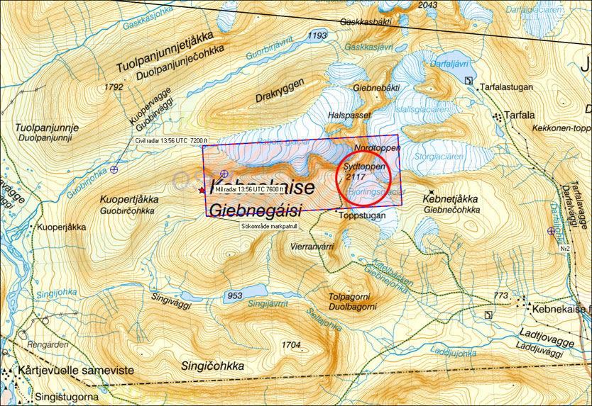 KEBNEKAISE: Overvåkningsflyet Orion skal ha funnet oransje gjenstander på Björlingsglaciären like ved Sydtoppen i Kebnekaise-fjellene. Foto: FLYGRÄDDNINGEN