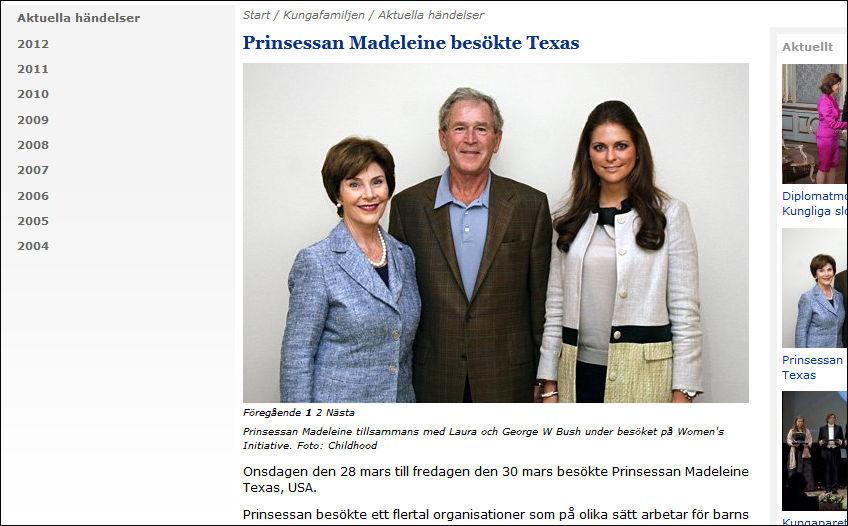 MØTTES: Laure Bush, prinsesse Madeleine og George Bush traff hverandre i Texas for få dager siden. Foto: Kungehuset.se / Childhood