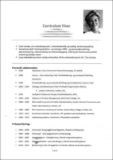 JUKSET: Den flere sider lange CV-en til Liv Løberg inneholdt utdanning hun aldri har tatt.