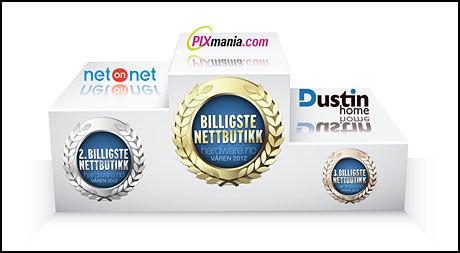 Pixmania vinner nettbutikk-testen, tett fulgt av NetOnNet.no og Dustinhome.no.