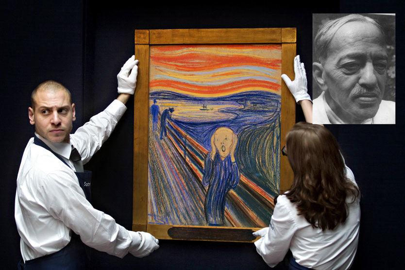 UENIGHET: Interessen for salget av Edvard Munchs «Skrik» er en enorm og utropsprisen er på 450 millioner kroner, når det skal auksjoneres hos Sotherby's i New York 2. mai. Men jødiske arvinger mener de har krav på en liten del av den summen. Foto: Scanpix/Privat