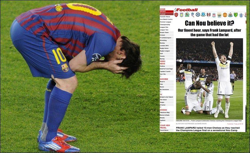DEPPET: Lionel Messi fortvilte etter at Barcelona røk ut av Champions League tirsdag kveld. I engelske The Sun trodde de knapt nok det de så. Foto: AFP/skjermdump The Sun