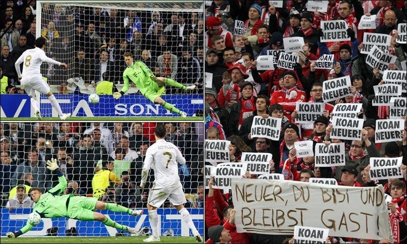 TO VERDENER: Til venstre ses Manuel Neuer som redder straffe fra Kaká (8) og Cristiano Ronaldo (7) i går. Til høyre ses plakater fra Bayern-fansen med budskapet som kan oversettes til «Ingen Neuer» fra kampen Schalke 04 - Bayern München våren 2011 - mens ryktene om en overgang var hete. Foto: AFP/Sampics/Corbis/ - montasje: VG Nett