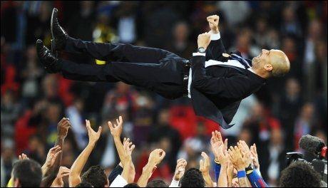 GODE DAGER: Guardiola hylles etter Champions League-triumfen i 2011. Foto: Scanpix/AFP
