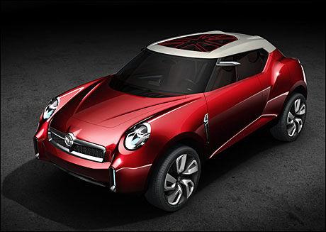 MG MED SUV: Den tradisjonelle engelske bilprodusenten MG er nå eid av kinesere. De viser frem en liten snerten konsept-SUV, Icon, på bilutstillingen som kanskje mest minner om en variant av Nissans Juke. Foto: Produsent