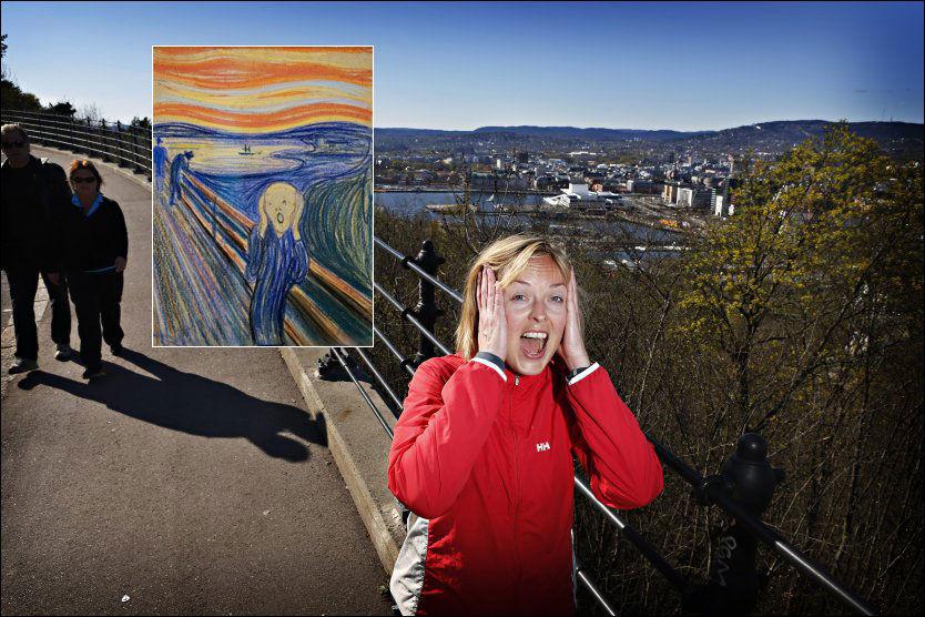 Hva som får meg til å skrike? Hm. Jo, at det er vår! Et gledesskrik! sier Anne Løken (31). Bildet er tatt i Valhallveien, som ligger noen meter høyere enn den stien Munch antagelig malte. Her oppe er utsikten mer slik den så ut på Munchs tid. Foto: Frode Hansen