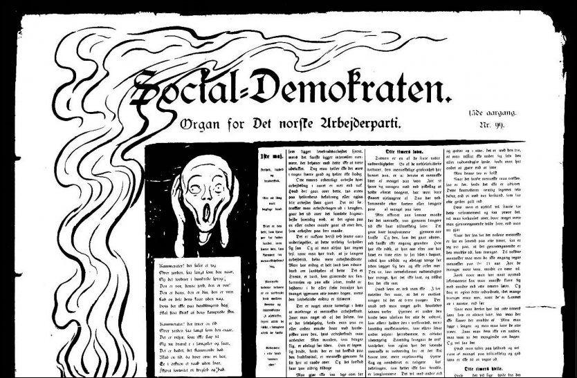 IKONET BLIR SKAPT: Forsiden til Social-Demokraten 1. mai 1898, med utsnitt av Munchs «Skrik» ILL.: ARBEIDERBEVEGELSENS ARKIV Foto: