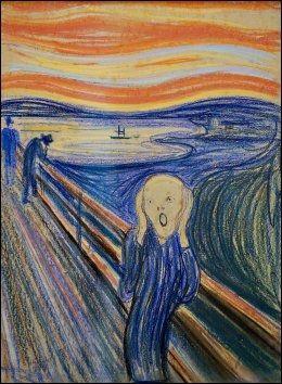 TIL SALGS: Dette er Munchs pastell-versjon av «Skrik», som auksjoneres bort hos Sotheby's i New York 2. mai. Prisen blir anslått til å ligge rundt 50 millioner pund, altså nærmere en halv milliard. Foto: AFP Foto: