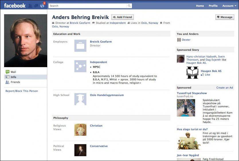 PR-BEVISST: 17.juli, altså fem dager før terroren, opprettet Anders Behring Breivik denne profilen på Facebook. Der la han ut åtte bilder han hadde tatt av seg selv. Foto: SKJERMDUMP