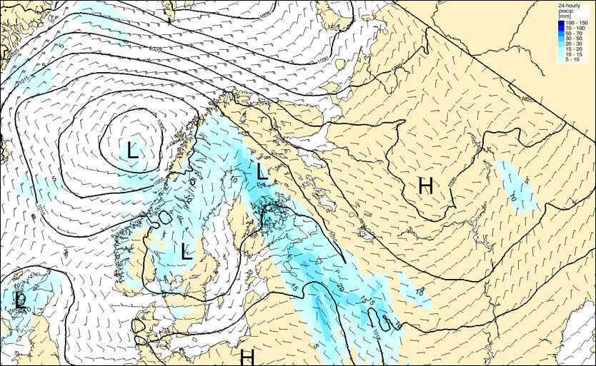 VÆRPROGNOSE FOR 17.MAI: På dette prognosekartet ser man nedbøren som er meldt mellom kl. 20 onsdag og kl. 20 på nasjonaldagen. FOTO: STORMGEO