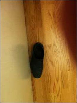 SKO: Denne skoen ble kastet i retten. Foto: LINDA HJERTEN, AFTONBLADET