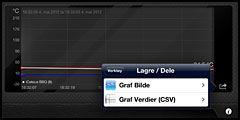 Grafene kan eksporteres som grafikk eller kommaseparerte verdier.