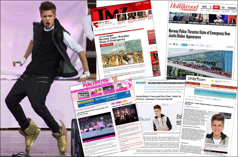 STOR NYHET: Justin Biebers norgeskonsert har ikke bare fått oppmerksomhet i norske medier. Access Hollywood, The Hollywood Reporter, Billboard.com og kjendisbloggeren Perez Hilton er noen av dem som har omtalt kaoset rundt konserten. Foto: Mattis Sandblad / VG / Faksimiler