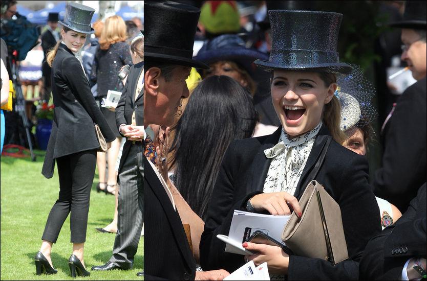 SÅ HATTEN PASSER: Mischa Barton pyntet seg i flosshatt og herreinspirert antrekk for dronning Elizabeth. Foto: Pa photos / Alloverpress