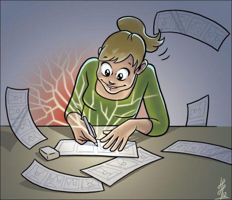 SLIPP PENNEN LØS!: Slik kan det se ut når du prøver deg som VGs nye serieskaper. Illustrasjonen er laget av Jorunn Hanto-Haugse, som har stripen «Reform 94» på trykk i VG. Foto: Illustrasjon: JORUNN HANTO-HAUGSE