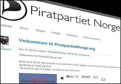 NY GIV: PiratpartietNorge.org er et nytt initiativ til å sparke igang interessen for piratpolitikk her i landet. Tidligere forsøk har ikke vært særlig vellykket, i motsetning til i en rekke andre land der partiet har fått merkbar oppslutning ved flere valg. (Skjermdump: PiratpartietNorge.org)
