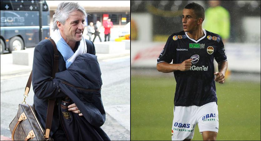 ENIGE: Omar Elabdellaoui (høyre) og Roberto Mancini (til venstre) er nå enige om en ny toårsavtale. Foto: Pa Photos/ NTB Scanpix