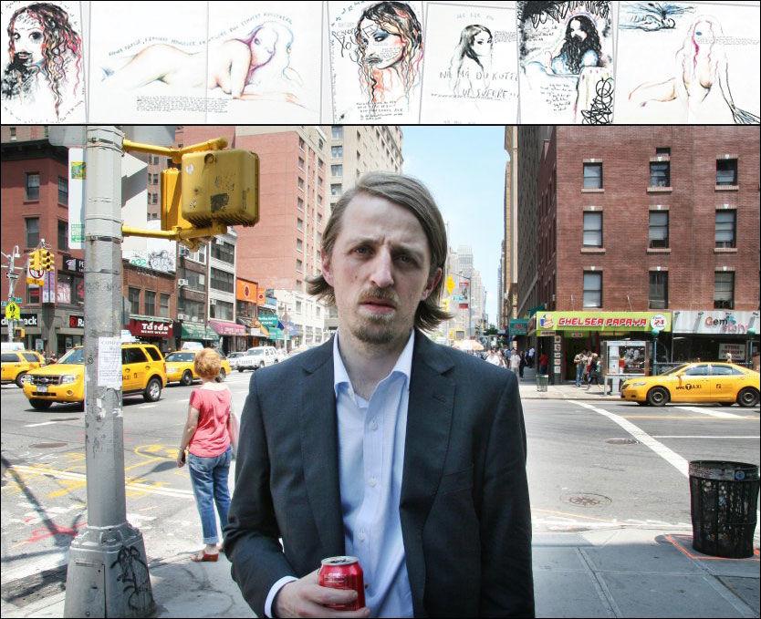 PÅ MANHATTAN: Med colaboks i hånden og flere nye utstillinger i New York neste år, ser den norske kunstneren Sverre Bjertnæs (36) lysere på livet igjen, etter at forholdet til kunstneren Unni Askeland tok slutt. Tegningene over er fra boken, og de viser jenta som han forelsket seg i. Foto: BØRRE HAUGSTAD