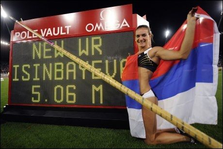 VERDENSREKORD: Jelena Isinbajevas verdensrekord på 5,06 ble satt i Zurich i august 2009. Foto: Fabrice Coffrini, AFP