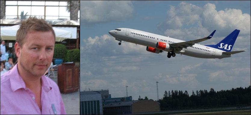 VILLE FLY UTEN: Fire timer etter at Tom Roger Rognli fikk e-post om å sjekke inn hos SAS, ble flybillettene hans kansellert - uten at han fikk beskjed. Foto: PRIVAT / JAN OVIND