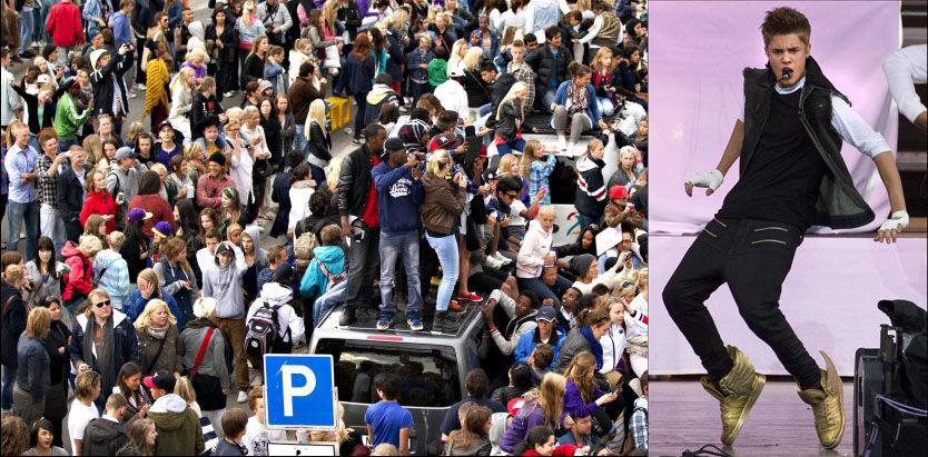 STO PÅ TAKET: Flere av bilene på bildet har fått taksert skadene til rundt 100.000 kroner. Her står Justin Bieber på scenen i Oslo. Foto: ROGER NEUMANN og Mattis Sandblad/ VG