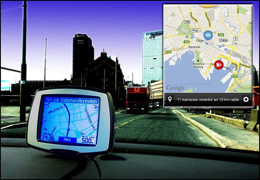 TILLATT: I Norge er de tillatt med GPS-varsler, og derfor er det utbredt å ha dette integrert i GPS-navigasjonssystemer (hovedbildet), i egne varslere eller i applikasjoner på mobiltelefonen (innfelt bilde).