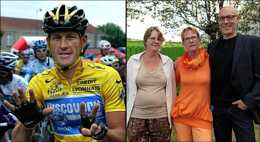 NORSK SLEKT: Lance Armstrong har vunnet Tour de France sju ganger. Til høyre er de norske femmenningene VG klarte å spore opp: F. v. Marianne Larsen Braathen, Grethe Larsen og Jørn Sørlie. Foto: AP og Kristian Helgesen (VG)