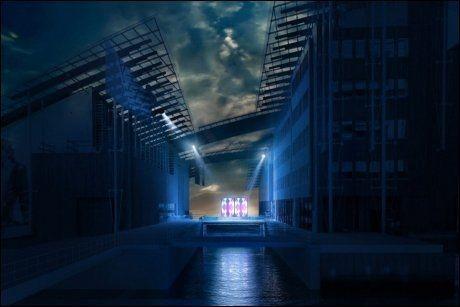 """LYSER OPP OSLO-NATTA: Bildet viser hvordan Apparatjik vil plasseres på en gratiskonsert ved Astrup Fearnley Museet på Tjuvholmen 29. sept. Forestillingen kalles """"The Apparatjik Light Space Modulator"""" og er en gave til byen fra Tjuvholmen Utvikling AS og Astrup Fearnley Museet Foto: eve-images.com"""