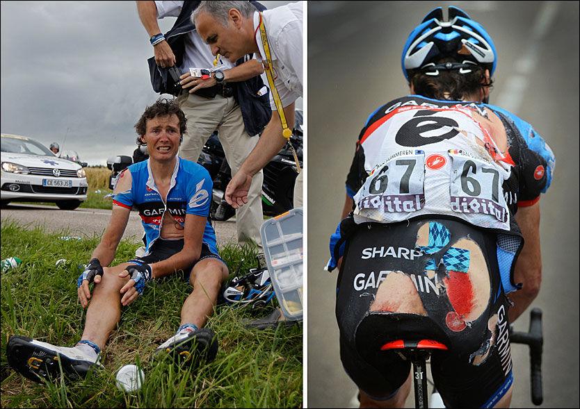 OUCH: Johan van Summeren tok telling i veikanten, men kom seg på sykkelen og fullførte etappen inn til Metz. Etterpå tok han turen til et lokalt sykehus. Foto: AFP og EPA